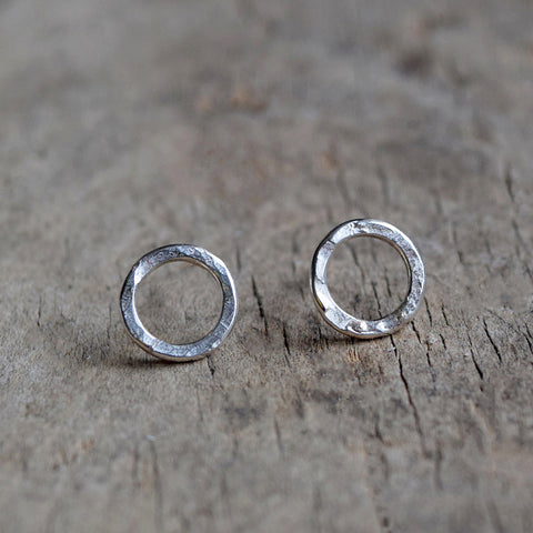 Handmade Sterling Silver stud earrings with a hammered surface inspired by textures found in the natural world.