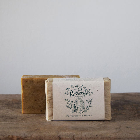 This handmade Peppermint & Honey Goat Milk Soap Bar contains pure Hampshire peppermint oil which is carefully blended into this Pure Goats Milk soap recipe.