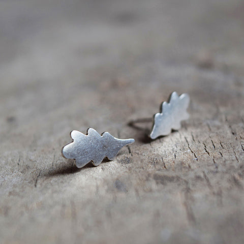 Oak leaf stud earrings, designed and handcrafted in a studio in Lewes by Phoebe Jewellery. They're made from Sterling silver and have a soft, brushed finish.