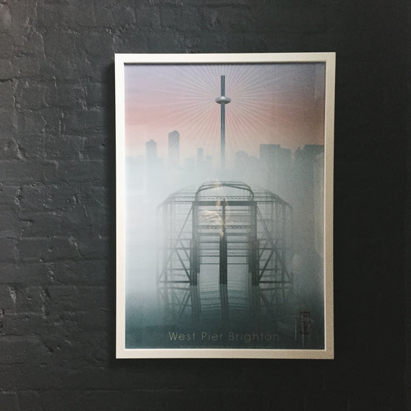 This is West Pier Brighton, a new Hako Kanada modern art print by Malcolm Trollope-Davis.