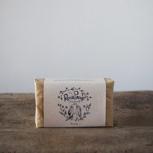 This handmade pure goat milk soap contains nothing more than goat milk, local cold pressed rapeseed oil and a little beeswax.