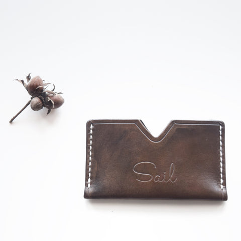 Beautifully handcrafted leather card slip by SAIL made in England from vegetable tanned leather.