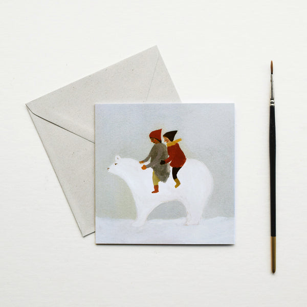 'Snow Bear' by Gemma Koomen is a greeting card featuring one of her beautiful illustrations painted in gouache and ink.