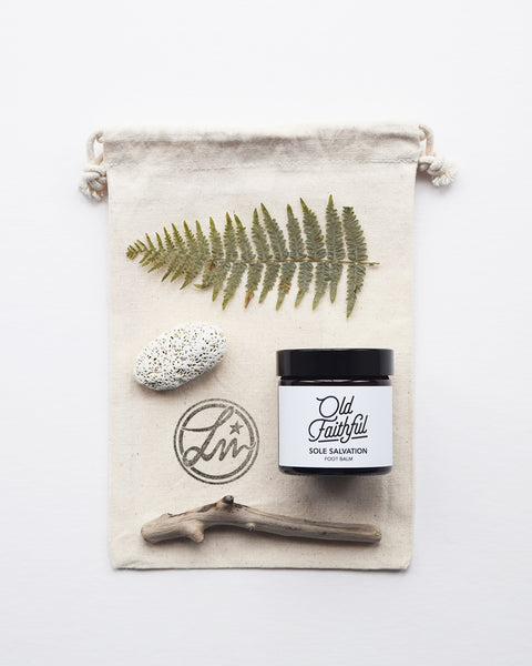 The Sole Salvation foot balm by Old Faithful is a 100% natural rich balm, hand blended in small batches, which nourishes, soothes and protects.