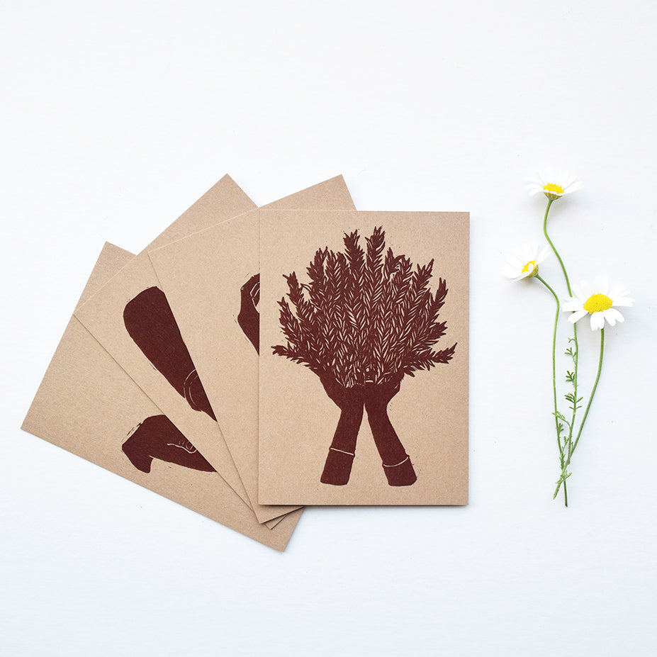 A beautiful set of postcards featuring mini prints hand carved from original linocut and woodcut prints by Rosanna Morris. The postcard designs include 'Planting Seeds', 'Rosemary' and 'Pear'.