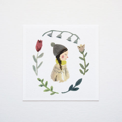 'Spring Girl' by Gemma Koomen is a high quality Giclee print featuring one of her beautiful illustrations painted in gouache and ink. The art print is signed and dated on the back.