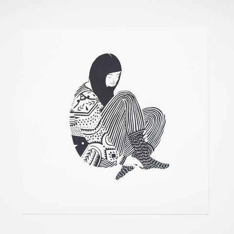 'Sweater' by Karolin Schnoor is a hand pulled one colour screen print on 300gsm Mohawk from GF Smith using water-based ink.