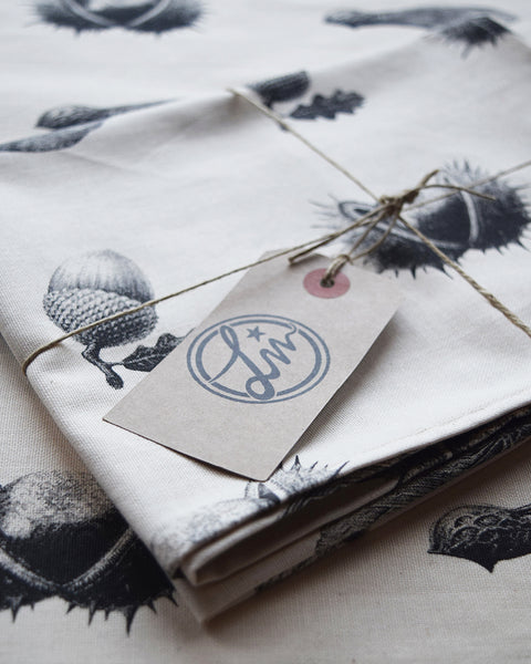 This botanical inspired tea towel features the first three pencil drawings from the 'Technature' range; 'Acorn', 'Sycamore Seed' and 'Horse Chestnut' by illustrator and commercial artist Malcolm Trollope-Davis. Screen printed on 100% natural premium cotton and made in the UK, it makes a perfect gift for someone who loves nature!