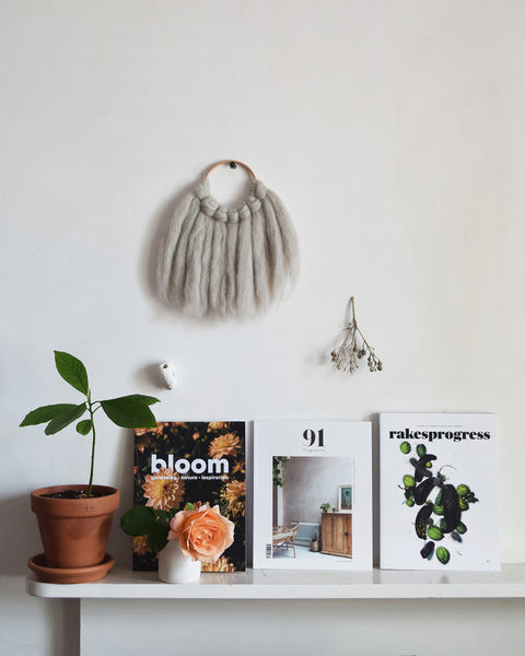 Beautiful summer issues of independent magazines including Bloom, 91 Magazine and Rakesprogress. Styled with avocado plant, rose in bud vase and wall hanger made from wool.