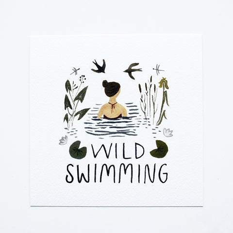 'Wild Swimming' by Gemma Koomen is a high quality Giclee print featuring one of her beautiful illustrations painted in gouache and ink. The art print is signed and dated on the back.