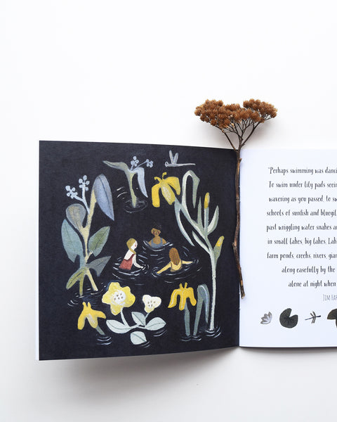 A lovely introduction to the wonderful world of wild swimming. The book is written by Flora Jamieson, a stained glass designer, maker and painter, who also loves wild swimming, and illustrated by artist Gemma Koomen, who loves using gouache and ink for her work.