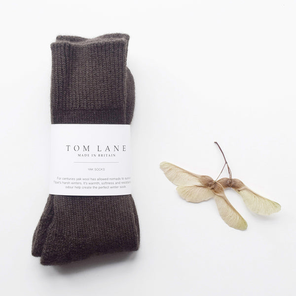 Cosy yak wool boot socks in brown by Tom Lane, made in Britain.