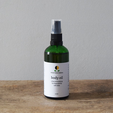 The organic Body Face Oil by miss bees balms - A restorative and rejuvenating, ultra nourishing body moisturiser formulated to help maintain beautifully soft and conditioned skin.