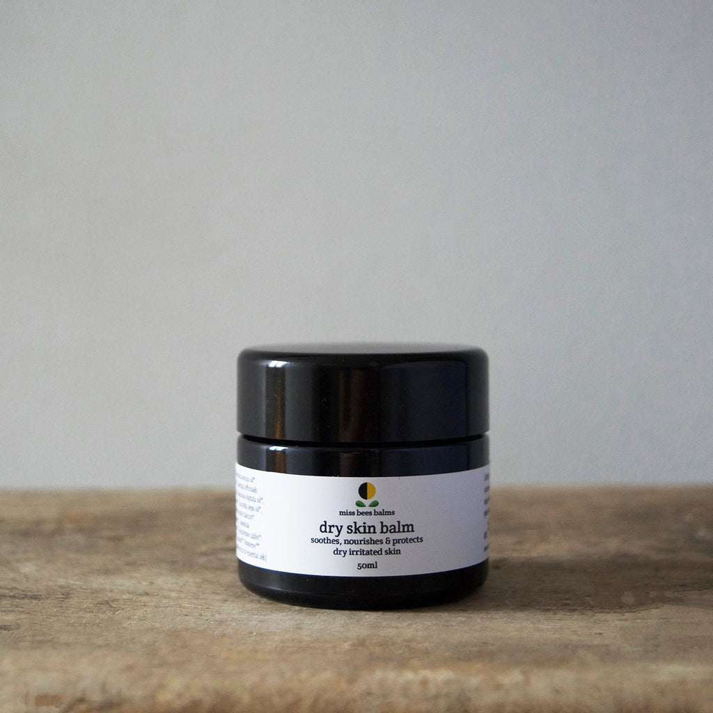 Hand blended in small batches, this organic dry skin balm by miss bees balms is  delicately scented with a warm, herbaceous and woody blend of pure essential oils.