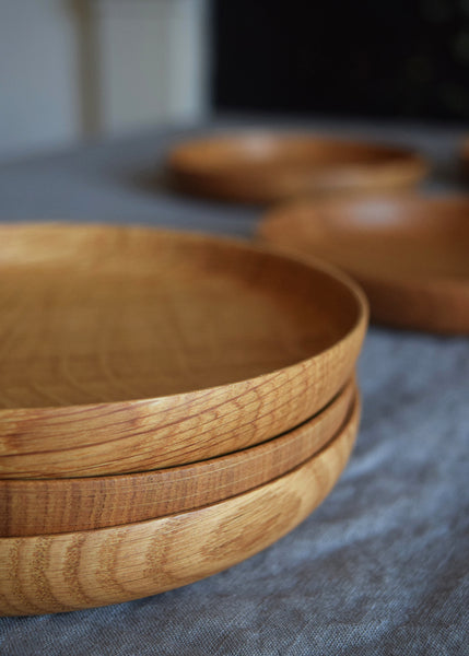 At the table these beautiful wooden plates by Selwyn House would be great for small starters, sharing plates or cheeses. Around the home, use them to hold pillar candles or special pieces of jewellery.