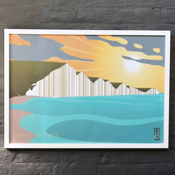 This is Seven Sisters in East Sussex, a new Hako Kanada modern art print by Malcolm Trollope-Davis.