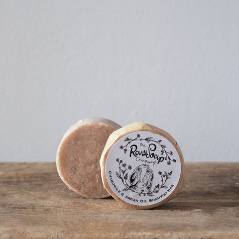 A beautiful handcrafted shampoo bar enriched with Organic Argan Oil, English Chamomile Essential Oil and Rhassoul Clay.