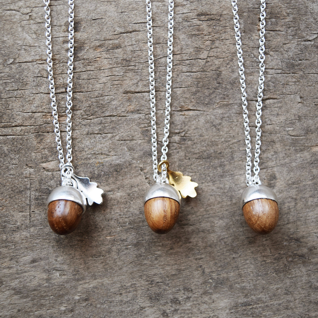 Sterling silver and gold Acorn and oak leaf pendant necklace | Lewes Map Store