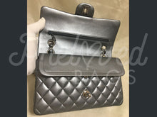 "SOLD Chanel 10"" 2.55 Graphite Grey Lambskin Double Flap Double Chain Bag with Silver Tone Hardware. - PrelovedBags Chanel"