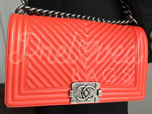 "SOLD Chanel 10"" Orange Chevron Le Boy Bag With Ruthenium Hardware - PrelovedBags Chanel"