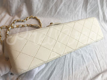 "SOLD Chanel 10"" 2.55 White Lambskin Double Flap Double Chain With Matte Gold Hardware - PrelovedBags Chanel"