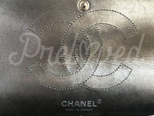 "SOLD - Chanel 11"" Metallic Silver Distressed Calfskin Double Flap Double Chain With Silver Tone Hardware. - PrelovedBags Chanel"