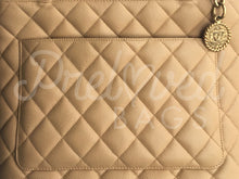 "SOLD - Chanel 12"" Beige Quilted Caviar Leather Medallion Tote Hand Bag Gold Tone Hardware - PrelovedBags Chanel"