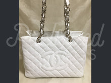 "SOLD - Chanel 12.99"" White Caviar Leather GST Grand Shopper Tote Bag With Silver Tone Hardware. - PrelovedBags Chanel"