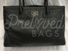 "SOLD - Chanel 14"" Black Executive Cerf Leather Tote With Silver Tone Hardware - PrelovedBags Chanel"