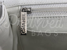 "SOLD - Chanel 12"" Jumbo White Caviar Leather Single Flap Bag with Silver Hardware - PrelovedBags Chanel"