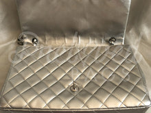 "SOLD - Chanel 13.38"" Jumbo Silver Lambskin Leather XL Maxi Double Flap Silver Hardware - PrelovedBags Chanel"