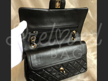 "SOLD - Chanel 10"" 2.55 Black Lambskin Leather Double flap Shoulder Bag Gold Plated Hardware - PrelovedBags Chanel"