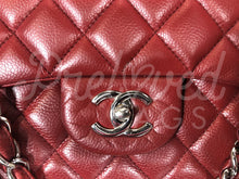 "Chanel 13"" Jumbo Wine Red Caviar Leather XL Maxi Single Flap Bag Silver Hardware 07973668765"