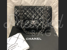 "SOLD - Chanel 10"" 2.55 Black Lambskin Double flap Shoulder Bag With Silver Tone Hardware - PrelovedBags Chanel"