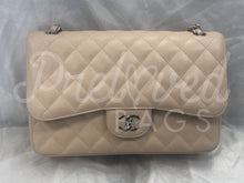 "SOLD - Chanel 12"" Beige Quilted Caviar Leather Medallion Tote Handbag With Silver Tone Hardware - PrelovedBags Chanel"