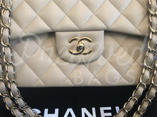 "SOLD - Chanel 12"" Beige Jumbo Lambskin Double Flap Bag with Gold Hardware - PrelovedBags Chanel"