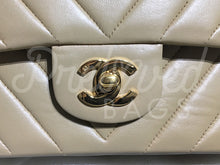 "SOLD - Chanel 10"" 2.55 Beige Chevron Lambskin Leather Double flap Bag with 24 carat Gold Plated Hardware - PrelovedBags Chanel"
