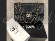 "Chanel 10"" 2.55 Black Chevron Lambskin Leather Double flap Bag With 24 Carat Gold Plated Hardware"