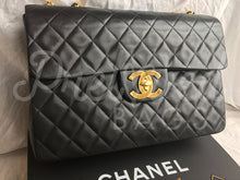 "Sold - Chanel 13.38"" Jumbo Black Lambskin XL Maxi Single Flap Bag with 24 Carat Gold Plated Hardware"