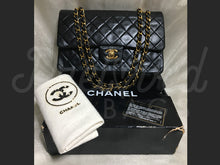 "SOLD - Chanel 10"" 2.55 Black Lambskin Double Flap Double Chain Bag with 24 Carat Gold Plated Hardware - PrelovedBags Chanel"