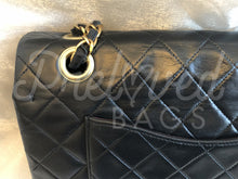 "SOLD - Chanel 10"" 2.55 Black Lambskin Leather Double flap Shoulder Bag With 24 Carat Gold Plated Hardware - PrelovedBags Chanel"