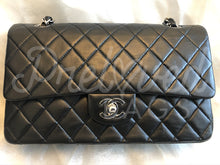 "SOLD - Chanel 10"" 2.55 Black Lambskin Double flap Shoulder Bag With Silver Hardware - PrelovedBags Chanel"