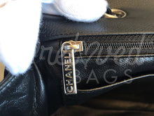 "SOLD - Chanel 12"" Jumbo Black Caviar Leather Single Flap Bag with Silver Hardware - PrelovedBags Chanel"