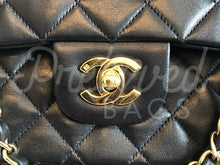 "SOLD - Chanel 10"" 2.55 Black Lambskin Leather Double flap Shoulder Bag 24 Carat Gold Plated Hardware - PrelovedBags Chanel"