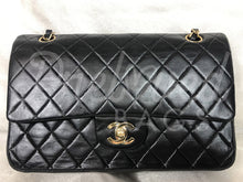 "Chanel 10"" 2.55 Black Lambskin Leather Double flap Shoulder Bag With 24 Carat Gold Plated Hardware 07973668765"