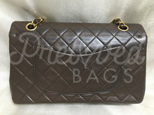 "SOLD - Chanel 10"" 2.55 Dark Brown Lambskin Leather Double flap Bag with 24 carat Gold Plated Hardware. - PrelovedBags Chanel"