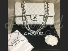 "SOLD - Chanel 10"" 2.55 White Caviar Leather Double Flap Double Chain Shoulder Bag With Silver Hardware - PrelovedBags Chanel"