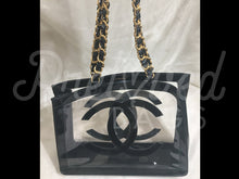"SOLD - Chanel 16.14"" Black & Clear Vinyl Jumbo Shoulder Shopping Tote Bag 24 Carat Gold Plated Hardware. - PrelovedBags Chanel"