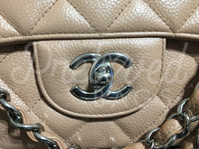 "SOLD - Chanel 13.38"" Beige Caviar Jumbo XL Bag With Silver Hardware - PrelovedBags Chanel"