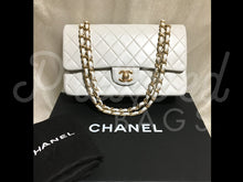 "SOLD - Chanel 10"" 2.55 Light Grey Lambskin Double Flap Double Chain Shoulder Bag with 24 Carat Gold Hardware. - PrelovedBags Chanel"
